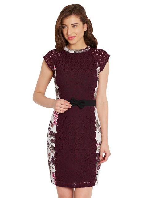 Bodycon Dress In Floral Print With Lace Overlay And A Thin Waist Belt/ DRF500457