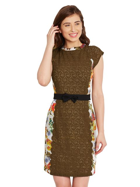 Bodycon Dress In Floral Print With Lace Overlay And A Thin Waist Belt/ DRF500458