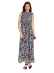 Maxi Dress In Grey Print With Lace Overlay/ DRF500477