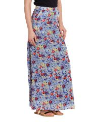 Maxi Skirt In Indigo Print With Side Pocket Detail/ SKF350139