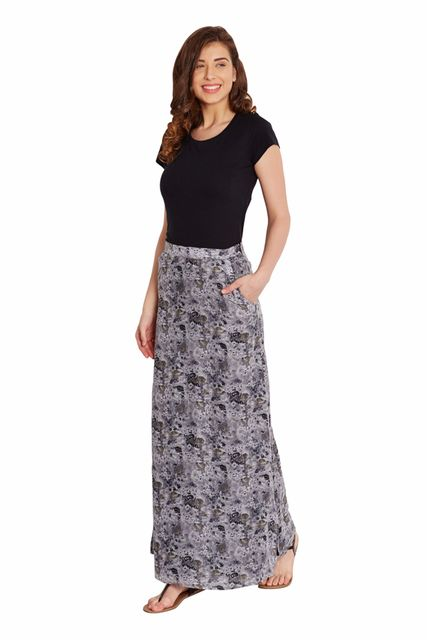 Maxi Skirt In Grey Print With Side Pocket Detail/ SKF350140