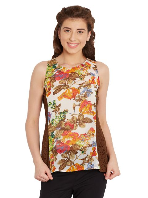 Tank Top In Floral Print With Lace Overlay At Side Panels/ TSF400625