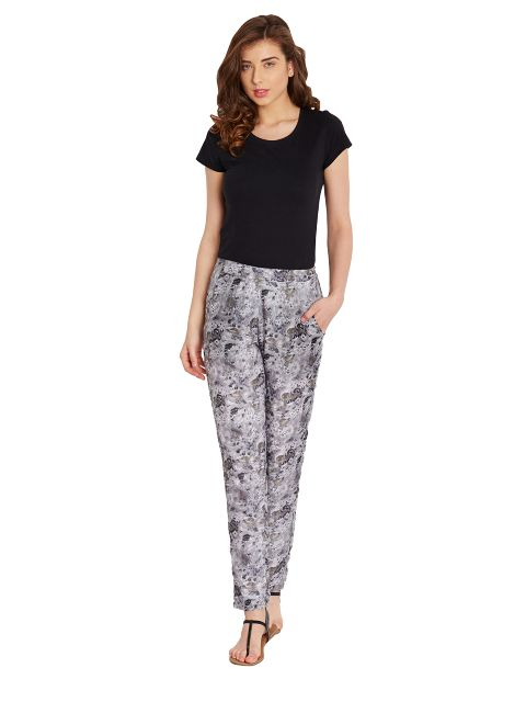 Straight Trouser In Grey Print With Side Pockets Detail/ TRF350146