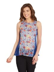 Tank Top In Indigo Print With Lace Overlay At Side Panels/ TSF400626