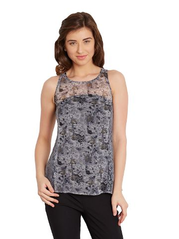Tank Top In Grey Print With Lace Overlay At Side Panels/ TSF400627