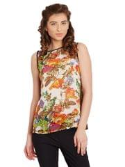 Swing Top In Multi Color With Contrast Trimmings And Lace Overlay At Back/ TSF400621