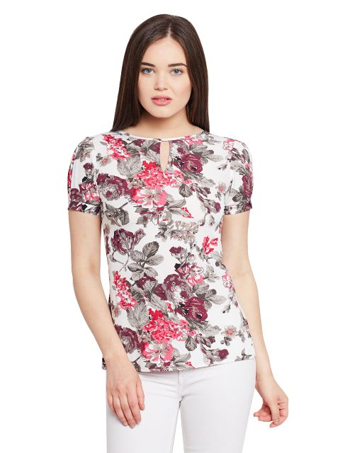 Pleated Sleeve Top In Floral Print With Keyhole Detailing At Front/ TSF400622