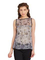 Swing Top In Grey Print With Contrast Trimmings And Lace Overlay At Back/ TSF400629