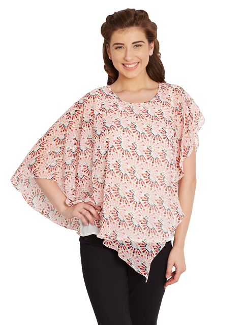 Double Layer Flounce Top In Red Print/ TSF400672