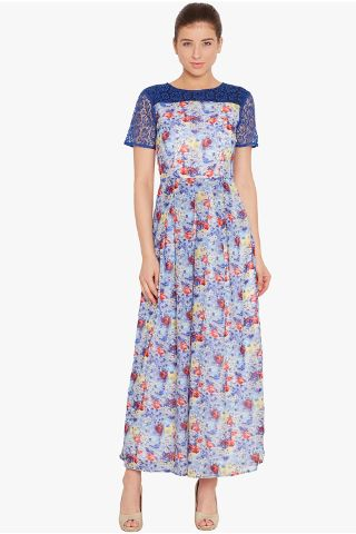 Box pleated maxi dress in indigo print with lace overlay/ DRF500472