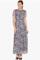 Box pleated maxi dress in grey print with lace overlay/ DRF500473