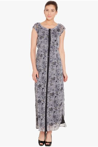 Front button down maxi dress in grey print with side slit/ DRF500475