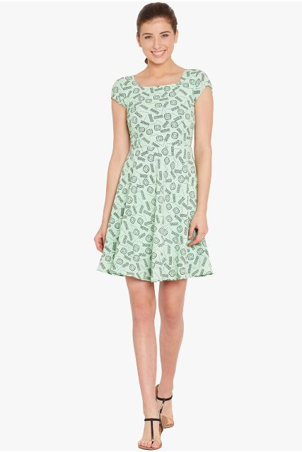 Skater dress in teal print with a thin waist band/ DRF500548