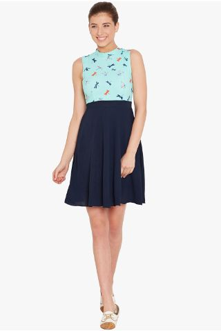 Skater dress in teal print with a thin waist band/ DRF500542