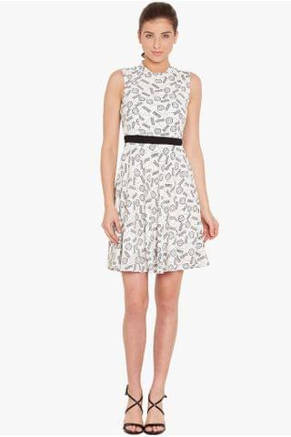 Skater dress in white print with a thin waist band/ DRF500550