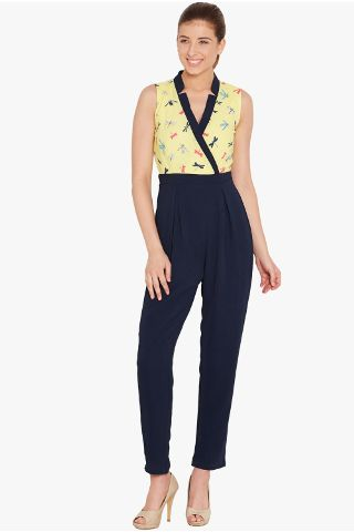 Front overlapped jumpsuit in yellow print with half collar band/ DRF500544