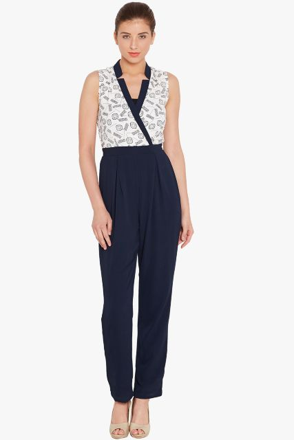 Front overlapped jumpsuit in white print with half collar band/ DRF500552