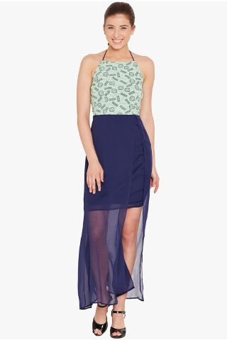 Halter neck bodycon dress in teal print and a sheer navy overlay skirt/ DRF500547