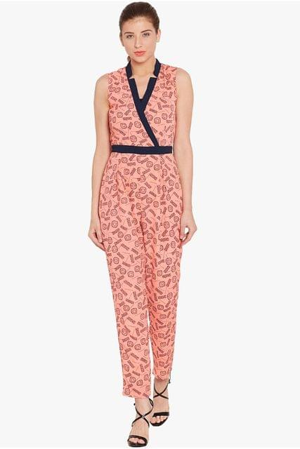 Front overlapped jumpsuit in peach print with half collar band/ DRF500553