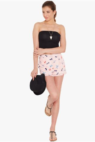 Shorts in peach print/ SHF350153