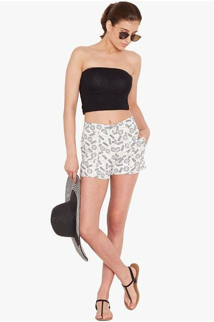 Shorts in white print/ SHF350154