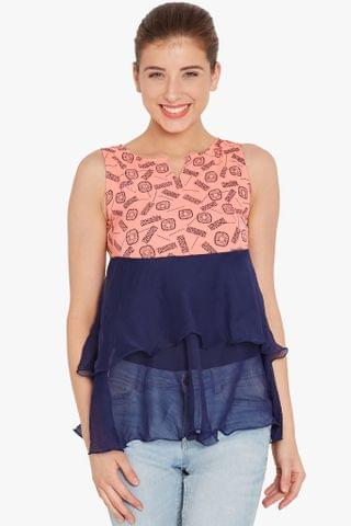 Double layer flare top in peach print/ TSF400707