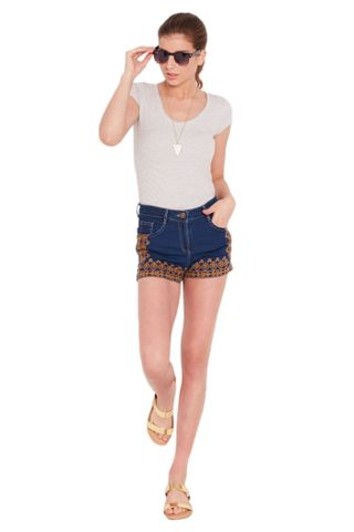Denim shorts in dark blue wash with embroidery at front/ SHF350155