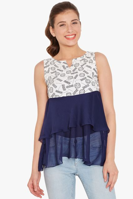 Double layer flare top in white print/ TSF400708