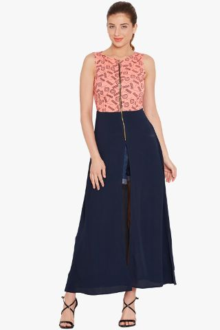 Maxi top in peach print with high slits at sides and front/ TSF400716