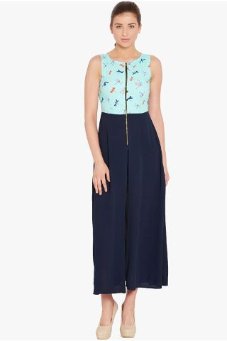 Maxi top in teal print with high slits at sides and front/ TSF400719