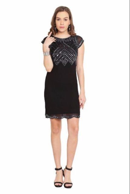 Black Dress With Emblishment/ DRF500142