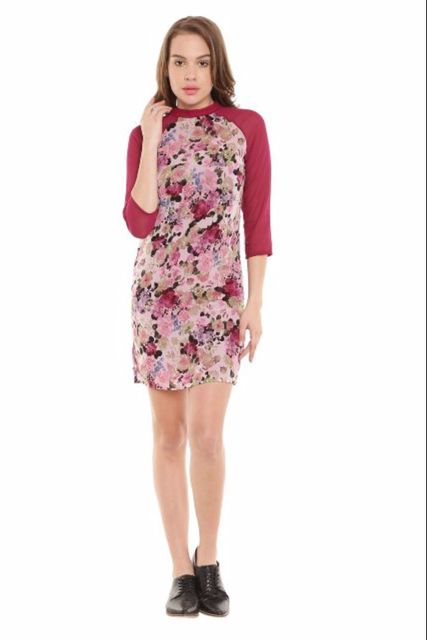 Marsala Casual Dress In Printed Fabric/ DRF500147