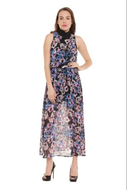 Long Dress In Multiprint With Gather At Waist/ DRF500247