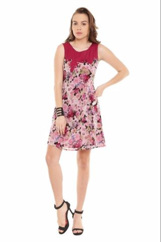 Marsala Casual Dress In Printed Fabric/ DRF500146