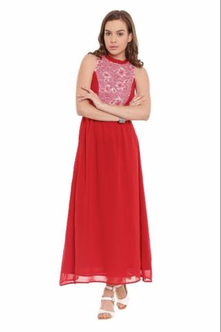 Long Dress In Red Color With Printed Lace At Body Part/ DRF500261