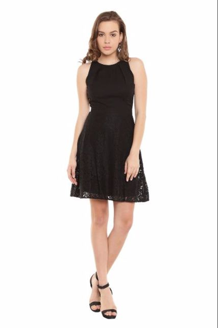 Skater Dress In Black Color With Lace Fabric At Bottom/ DRF500328