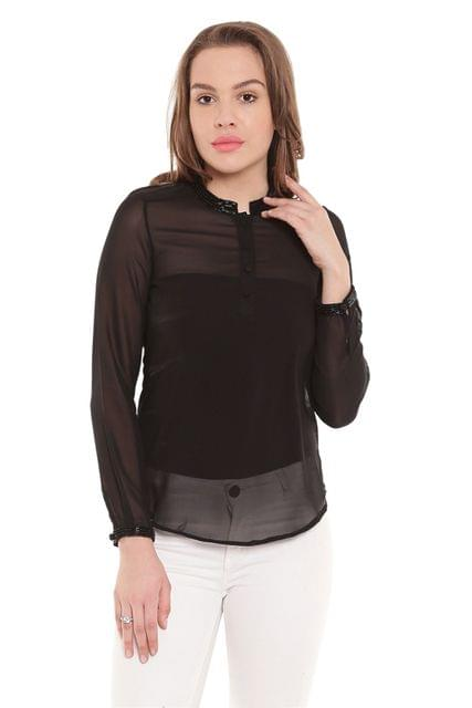 Black Casual Top With Emblishment At Collar And Cuff/ TSF400252