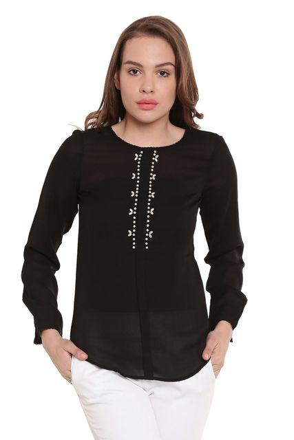 Black Casualtop With Emblishment At Neck/ TSF400253