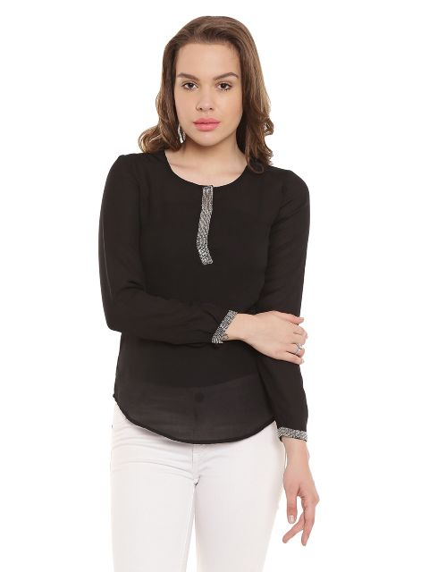 Black Casualtop With Emblishment At Placket/ TSF400254