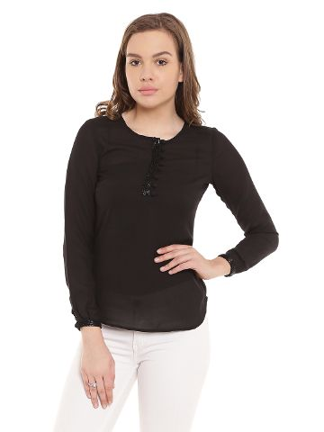 Black Casualtop With Emblishment At Cuff/ TSF400256