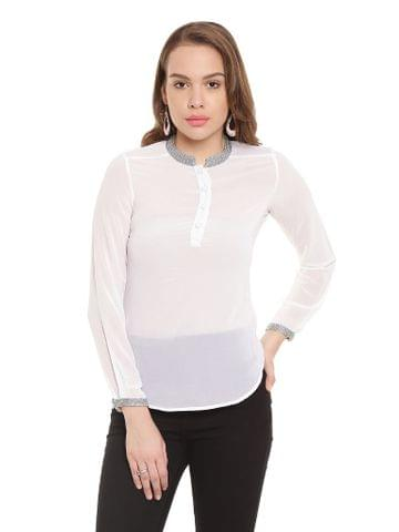Off White Casual Top With Embellishment At Collar And Cuff/ TSF400307