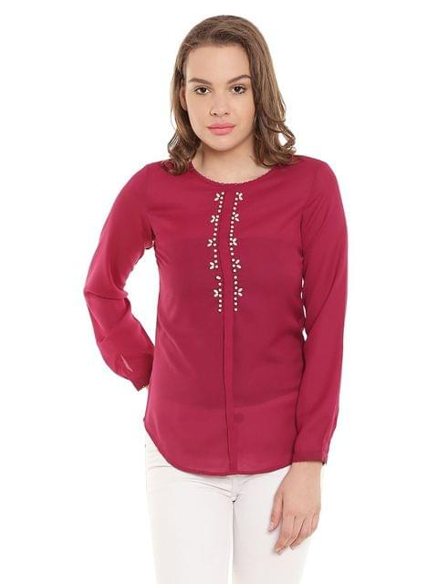 Marsala Casualtop With Emblishment At Neck/ TSF400272