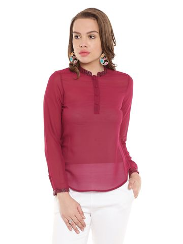Marsala Casual Top With Emblishment At Collar And Cuff/ TSF400271