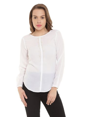Off White Casual Top With Embellishment At Neck/ TSF400308