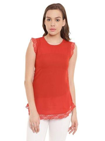 Tunic In Orange Color With Lace At Sleeves And Bottom/ TSF400444