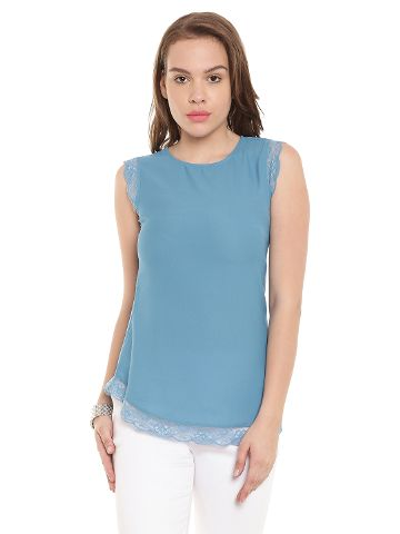 Tunic In Blue Color With Lace At Sleeves And Bottom/ TSF400445