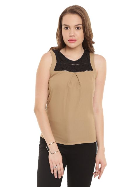 Casual Top In Beige Color With Blak Lace At Front And Back Yoke/ TSF400442