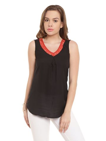 Tunic In Black Color With Red Lace At Neck And Back Yoke/ TSF400440