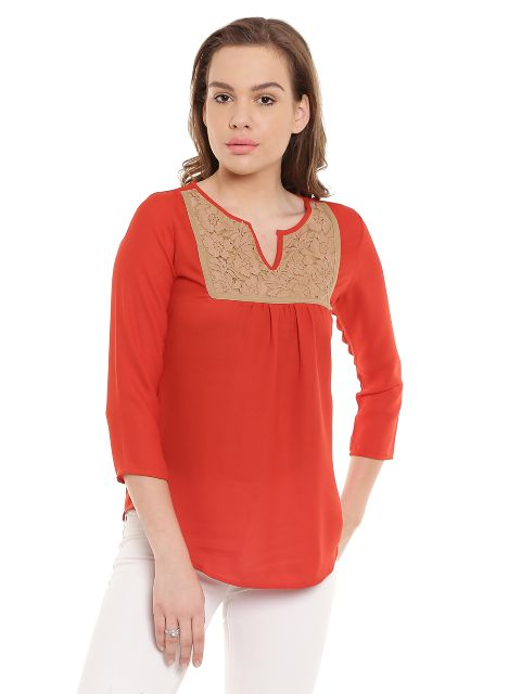 Tunic In Orange Color With Lace At Front And Back/ TSF400448