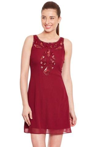 Marsala Dress With Emblishment/ DRF500137